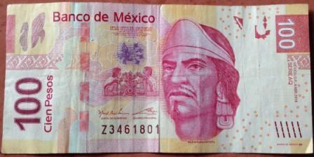 Meksyk waluta - banknot 100 pesos Meksykańskich